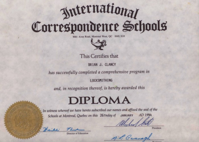Brians diploma-tulks-glass-and-key-shop