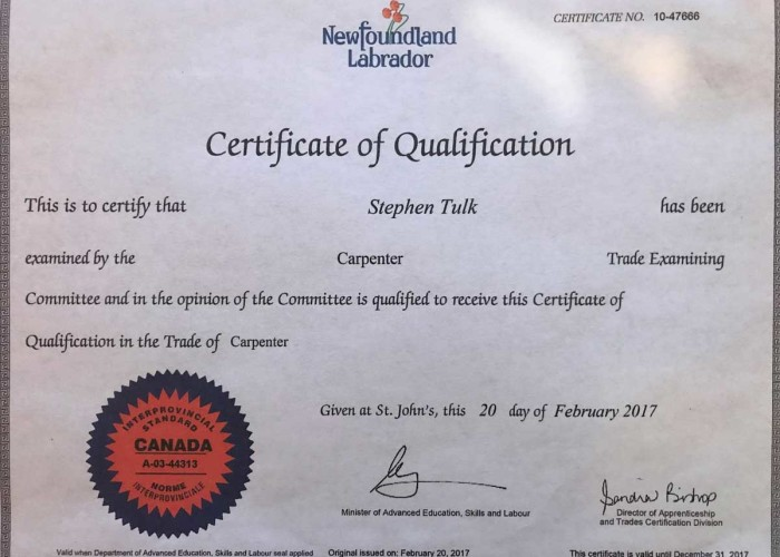 scan of newfoundland carpenter qualification diploma for stephen tulk