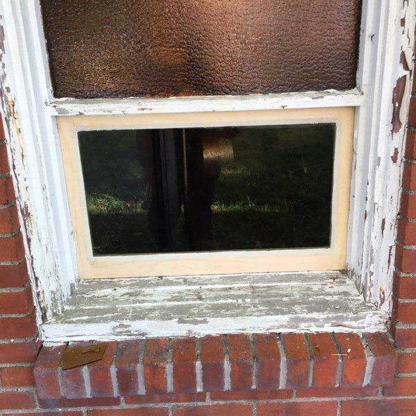 new window frame in old building